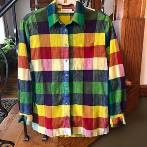 Spiegel Rainbow Plaid Button Down Shirt